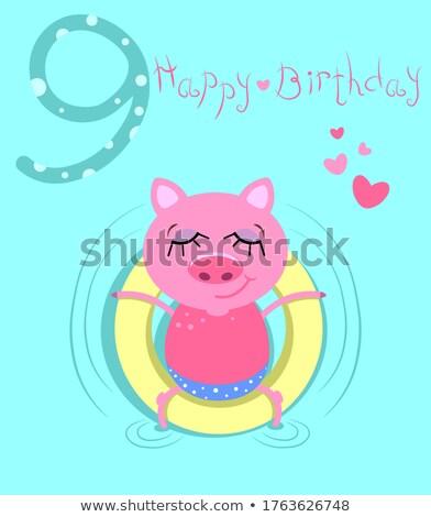 ninth birthday cartoon greeting card design stock photo © izakowski