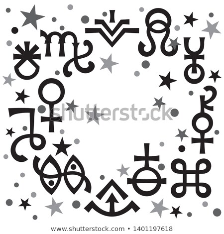 Astrological diadem (astrological signs and occult mystical symbols), celestial pattern background. Stock photo © Glasaigh