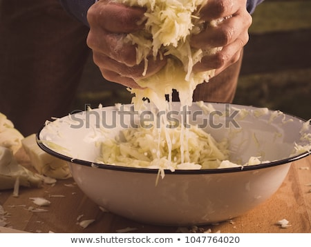 sliced cabbage on shredder Stock photo © OleksandrO