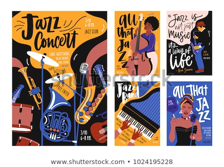 Vector jazz poster with a musician playing piano. ストックフォト © Giraffarte
