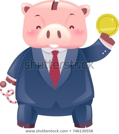 Piggy bank robô mascote negócio terno moeda Foto stock © lenm
