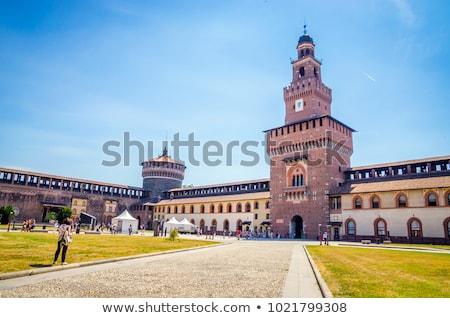 fontein · kasteel · milaan · Italië · gebouw · stad - stockfoto © boggy