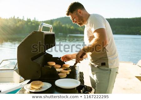 syn · ojca · grill · rodziny · obiad · dalsza · rodzina · parku - zdjęcia stock © lopolo
