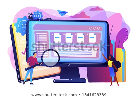 Document beheer zachte zakenlieden vergrootglas Stockfoto © RAStudio