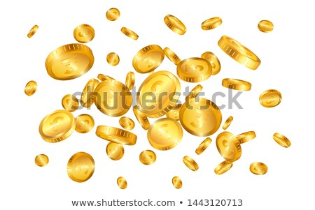 Pound gold coins explosion isolated on white background. Vector illustration Stock photo © olehsvetiukha