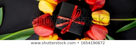 frischen · farbenreich · Tulpen · Geschenkbox · Grußkarte · Holz - stock foto © illia
