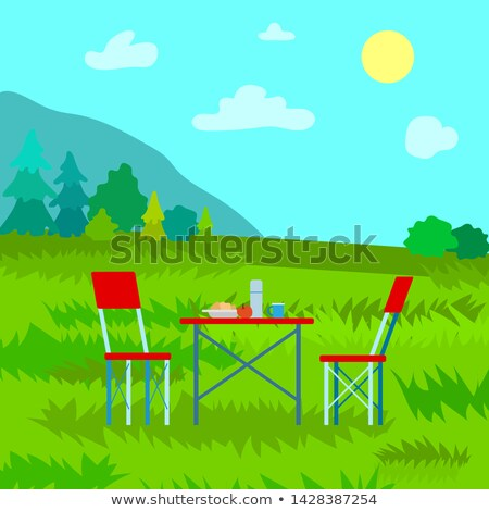Landscape View on Top, Dinning on Mountains Vector Stock photo © robuart
