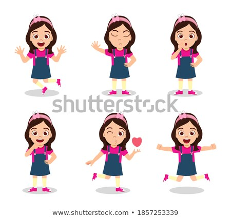 Girls with happy face doing in different actions Stock photo © bluering