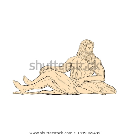 Hercules Reclining Looking to Side Drawing Stock photo © patrimonio