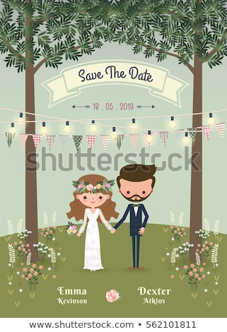 Save the Date Bride and Groom Wedding Invitation Stock photo © robuart
