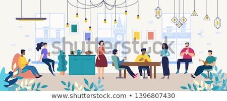 coffee break in office relaxing people vector stock photo © robuart