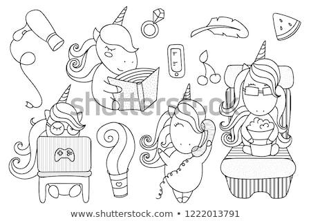 Diferenças cor livro cavalos animal Foto stock © izakowski