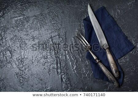 Vintage tenedor cocina cuchillo oscuro piedra Foto stock © masay256