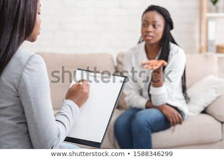 женщину · психолог · сидят · вниз · служба · счастливым - Сток-фото © andreypopov