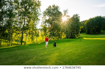 Golfer walking on fairway with bag. Stock photo © lichtmeister