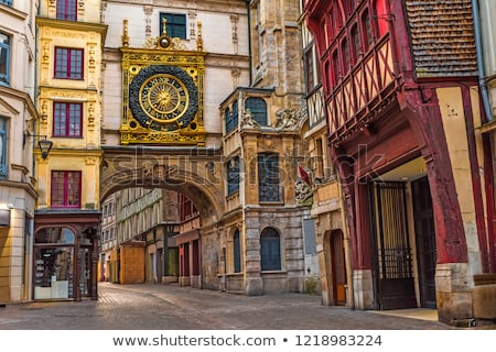 Straat Frankrijk historisch centrum huizen hout Stockfoto © borisb17