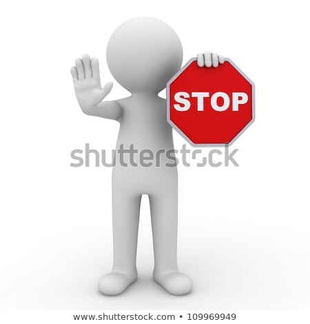 Alert man showing stop sign. Stock photo © lichtmeister