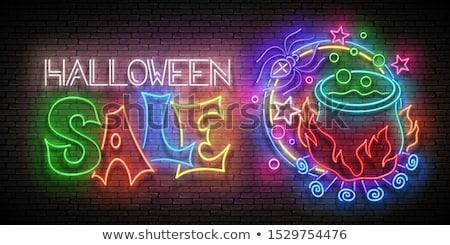 Boldog halloween vásár neonreklám sütőtök varjú Stock fotó © Voysla