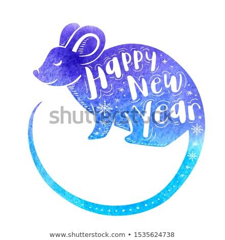 kínai · új · év · kék · vízfesték · patkány · kártya · üdvözlőlap - stock fotó © artspace