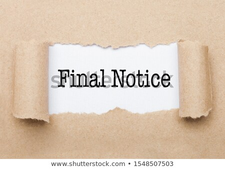 Finan Notice text appearing behind brown paper Stock photo © DenisMArt