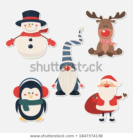 Stock photo: Christmas stickers collection with cute gnomes. Flat design