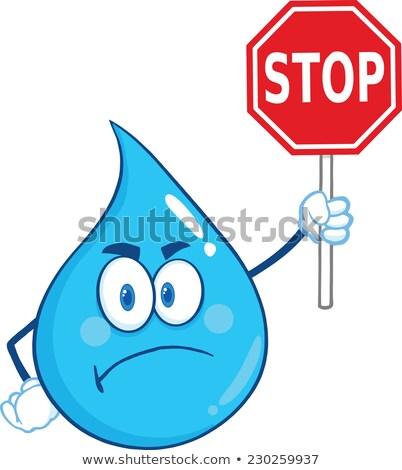 Zangado gota de água mascote proibido Foto stock © hittoon