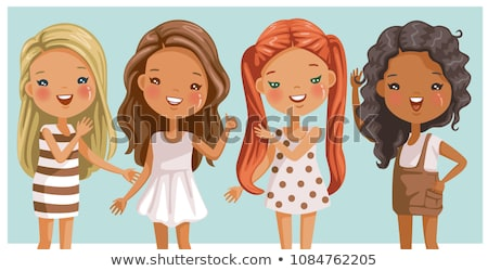 four girls on different backgrounds stock photo © bluering