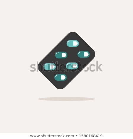 Blister pack. Icon with shadow on a beige background. Pharmacy vector illustration Stock photo © Imaagio