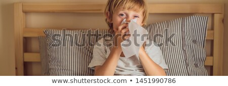Ziek jongen neus kind koorts ziekte Stockfoto © galitskaya