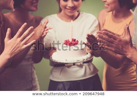 close up of birthday cake with candles on stand Stock photo © dolgachov
