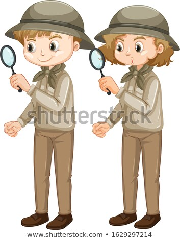 Girl in scout uniform with magnifying glass on white background Stock photo © bluering