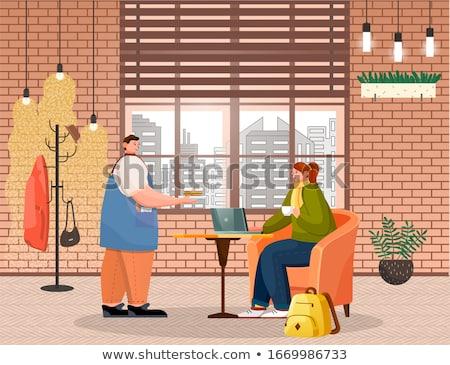 Barista sandwich vrouw De ober dame drinken Stockfoto © robuart