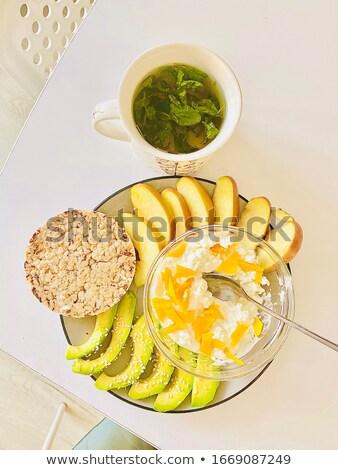 Reggeli egészség szeletek almák diétás zöld tea Stock fotó © ElenaBatkova