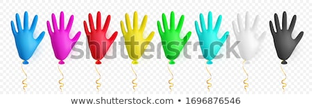 Realistic colorful medical latex glove balloon. Shine helium balloon made from medical latex glove.  Stock photo © olehsvetiukha