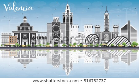 Valencia sziluett szürke épületek kék ég tükröződések Stock fotó © ShustrikS