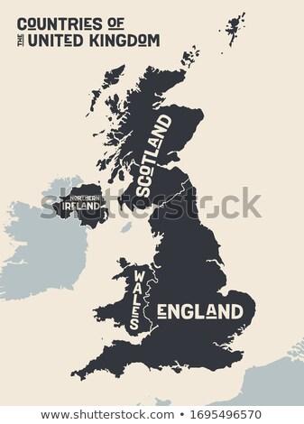 Plakat Karte Vereinigtes Königreich schwarz weiß drucken tshirt Stock foto © FoxysGraphic