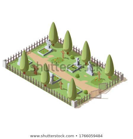 row coffins on white background. Isolated 3D illustration Stock photo © ISerg