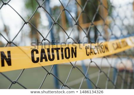 voorzichtigheid · teken · tape · waarschuwing · gevaar · kruis - stockfoto © johnkwan