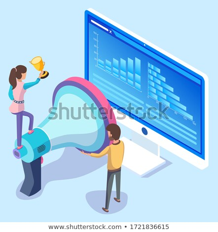 Woman Stand on Acoustic Horn, People near Computer Stock photo © robuart