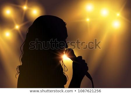 Ludzi sylwetki śpiewu piosenka karaoke wektora Zdjęcia stock © pikepicture