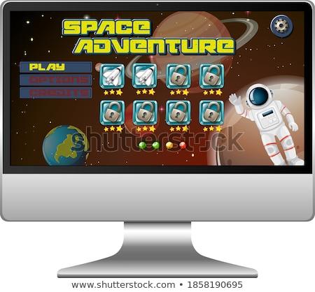 Ruimte avontuur missie spel tablet scherm Stockfoto © bluering