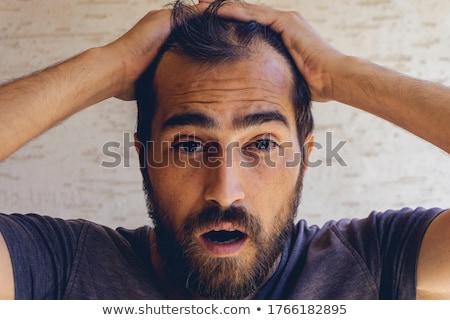 Man haren hoofd witte patroon persoon Stockfoto © zurijeta