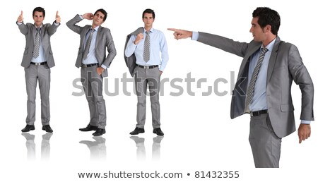 man in two-piece grey suit striking different poses Stock photo © photography33