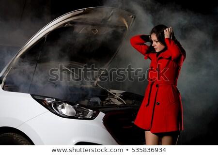 kadın · kırık · araba · gece · araçları · eller · sokak - stok fotoğraf © pekour