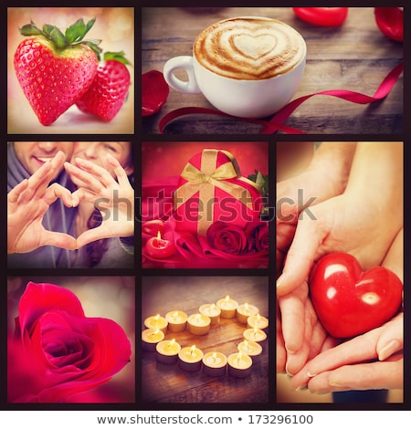 St. Valentine's day greeting background with two burning candles Stock photo © AndreyKr