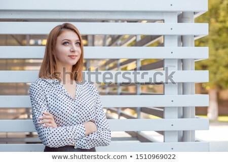 elegante · trabalhador · de · escritório · retrato · jovem · em · pé · entrada - foto stock © photography33