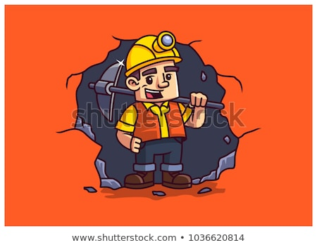 Laborer with pickaxe on his shoulder Stock photo © photography33