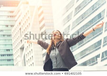 üzletasszony · karok · fiatal · ül · szék · munkahely - stock fotó © photography33