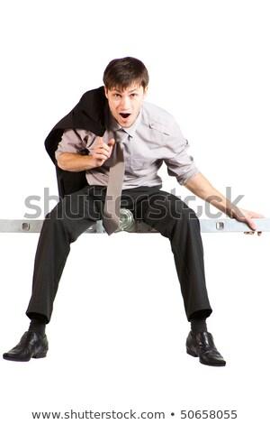 genç · işadamı · oturma · merdiven · çığlık · atan · yalıtılmış - stok fotoğraf © varlyte