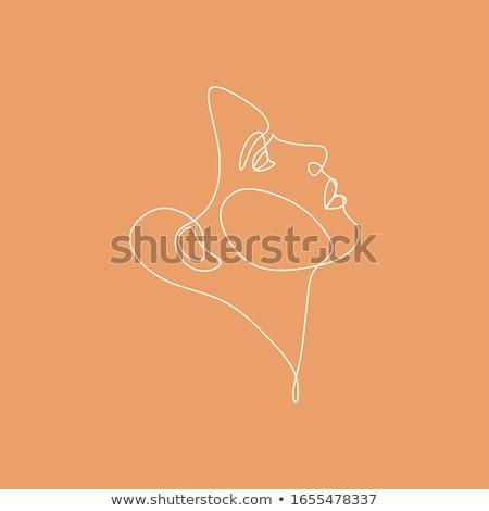 Kontur weiblichen Person Gesicht Stock foto © cookelma